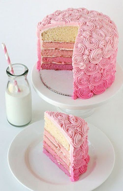 Pink ombre cake. LOVE it!