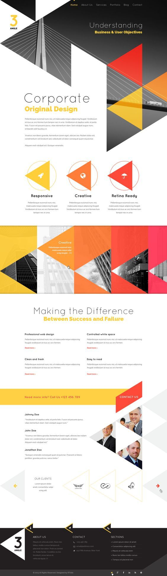 3Angle - Agency Creative Responsive Web Design Template, find more on the Responsive Design Knowledge Hub: http://www.ugurus.com/responsive-design-templates-and-themes: