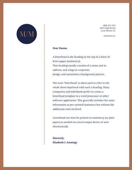 Brown & Blue Simple Professional Letterhead
