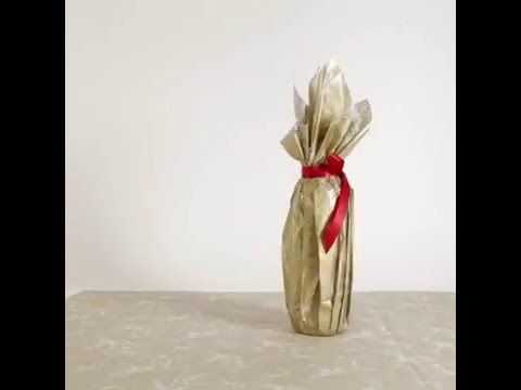 Christmas wrapping hacks: How to wrap a wine bottle - YouTube