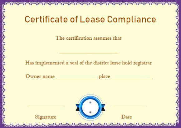 Certificate Of Compliance Leasehold Template Certificate Of