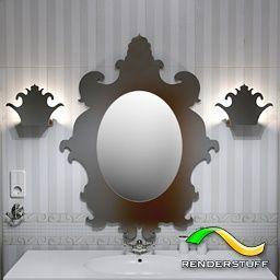 Бесплатная 3D модель - Цельное настенное зеркало со светильниками