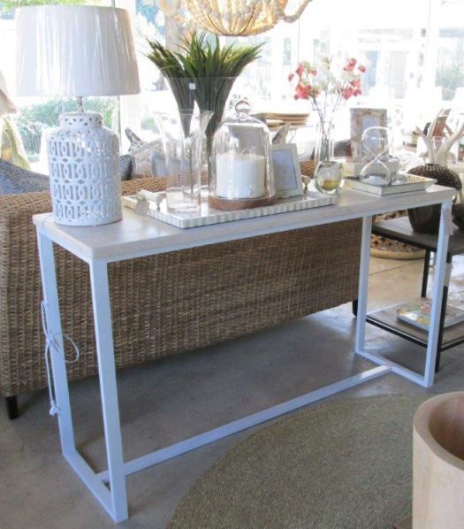 In Stock - White Powder Coated Aluminium Console Table with Ceasarstone Top - 1520 x 470 x 880mm - Inside Out Home Boutique - Please check stock availability