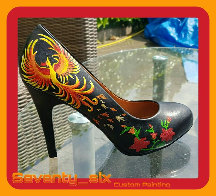New#hand#painted#airbrusht#flakes#high#heels#womans#love#happy#nice#phoenix#