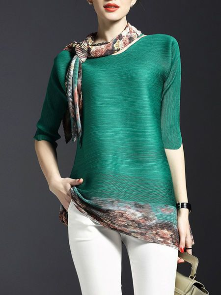 Ribbed Color-block Tunic with Scarf