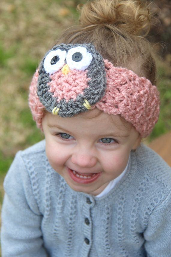 Amazing Baby Owl Headband / Ear Warmer  https://www.etsy.com/listing/183293511/baby-owl-crocheted-headband