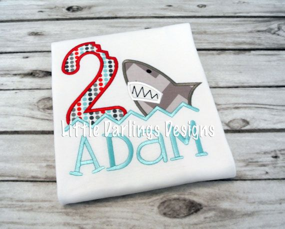 Fun Boys Shark Themed Birthday Shirt by LilDarlingsDesigns on Etsy, $24.00 Adam's birthday shirt!