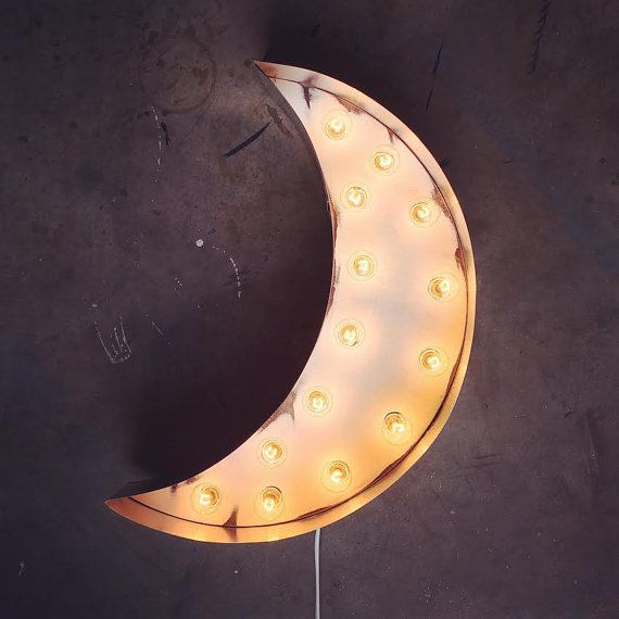 Crescent Moon Marquee Light by MarqueeMoonShop on Etsy
