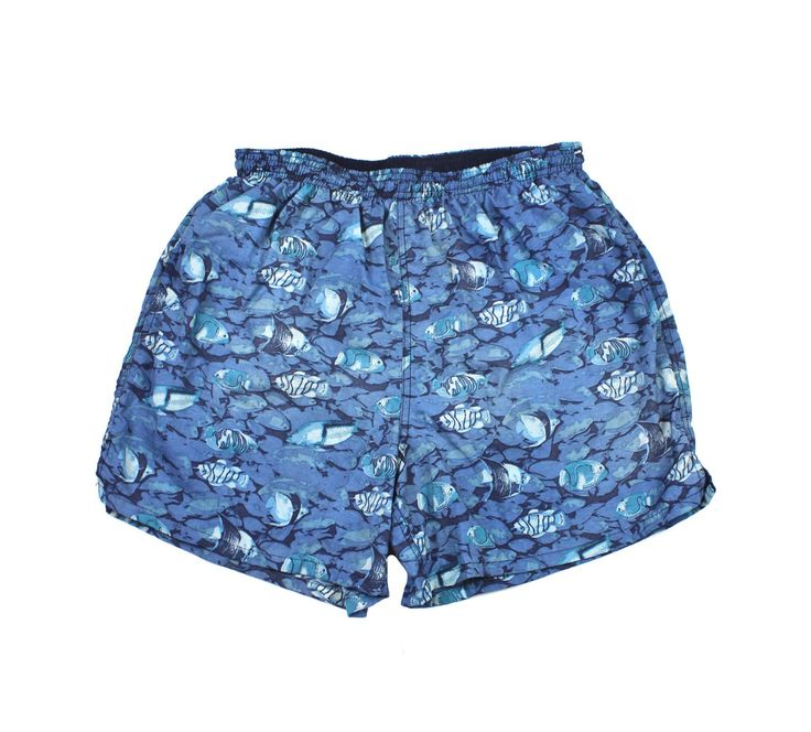 Vintage 90s tropical fish print swim trunks mens size for Fishing swim trunks