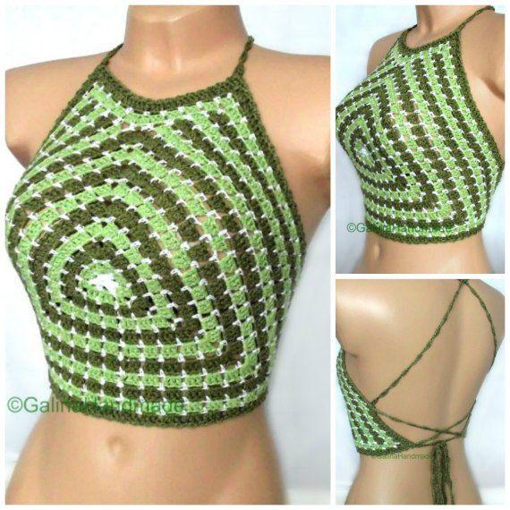 Summer Crochet Top Halter Top  Tank Top Crochet Bikini Top  BacklessTop Dance…
