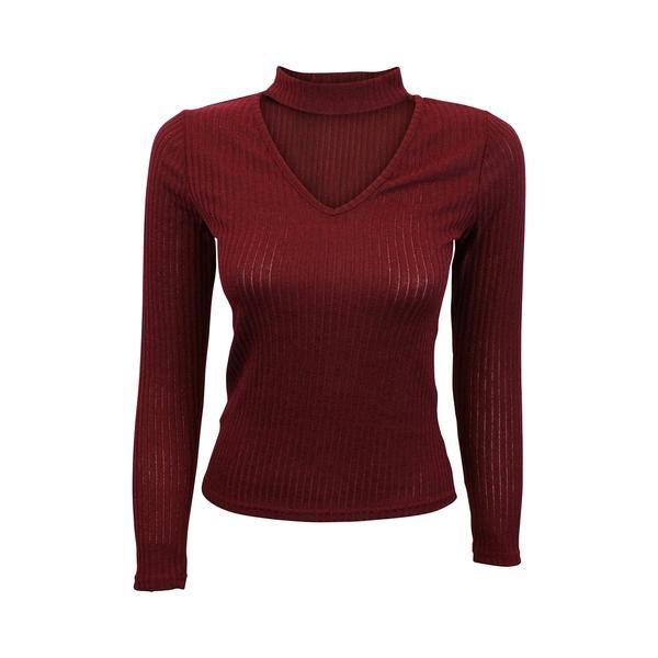 Maroon Knit Choker Sweater (Female) // Zargara