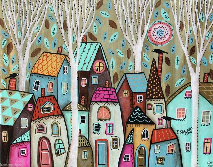 Always Watching 14x11 Cats Birds Houses ORIGINAL Canvas PAINTING FOLK ART Karla G, new painting for sale, just added...
