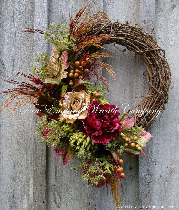 Fall Wreath, Autumn Wreaths, Thanksgiving, Harvest, Designer Wreath, Elegant Fall Floral, Fall Door Wreath  Chestnut Hill Autumn Wreath. A