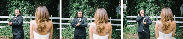 Every bride's dream reaction from her groom when he sees her for the first time on her wedding day!!!  // Aaron and Jillian Photography