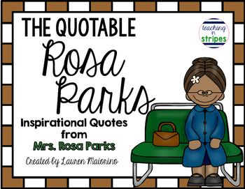 Rosa Parks Quote Poster Pack And Craft Idea Freebie From Teaching In Stripes
