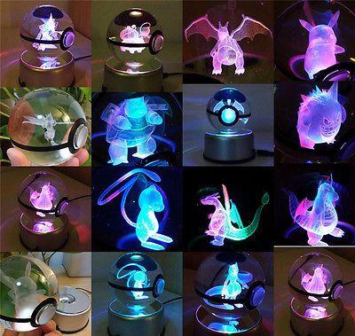 Pokemon GO Charizard Bulbasaur Mew Gengar 3D Led Desk Lamp Portable Crystal Ball