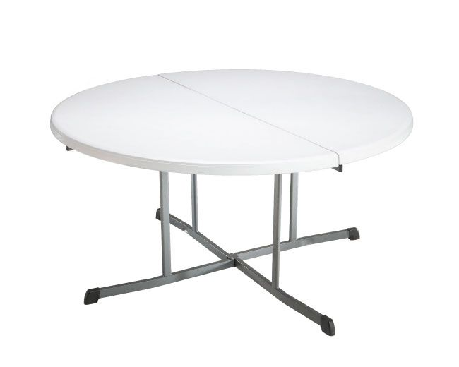 lifetime round folding tables 60inch white foldinhalf table