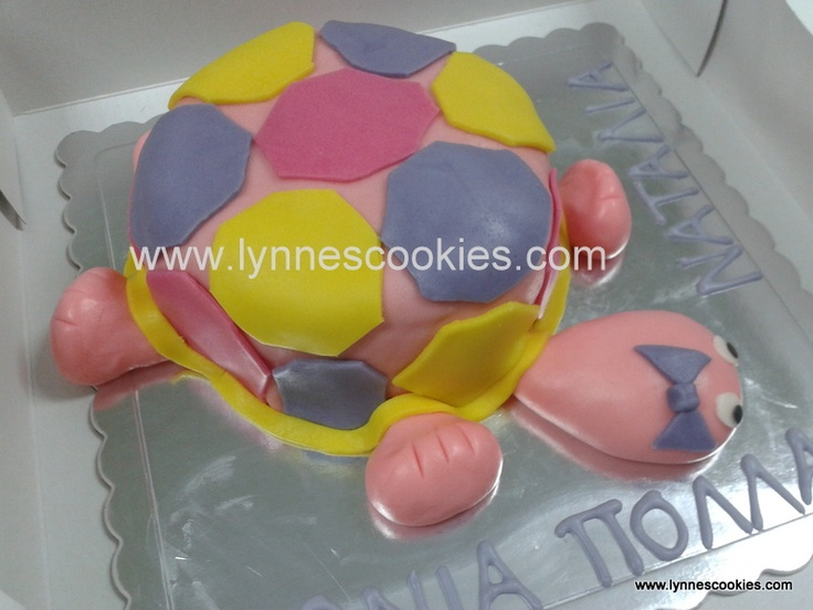 pink, purple and yellow turtle cake