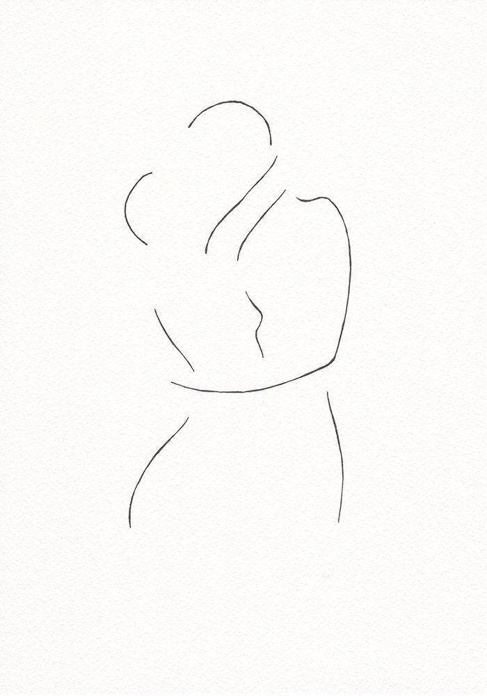 Minimalistischer Kuss der Zeichnung. Line Art Kreation von Siret