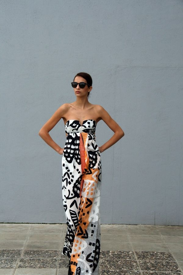 strapless jumpsuit. Could buy plain black and white print and then die it