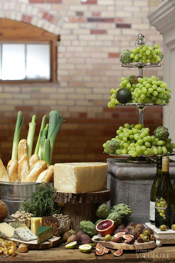 beautiful table with cheese, bread and fruit