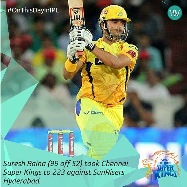 #OnThisDayInIPL 2013, Suresh Raina's blistering 99 helped Chennai Super Kings post a whopping 223 on the board against the Sunrisers Hyderabad!  #IPL #cricket