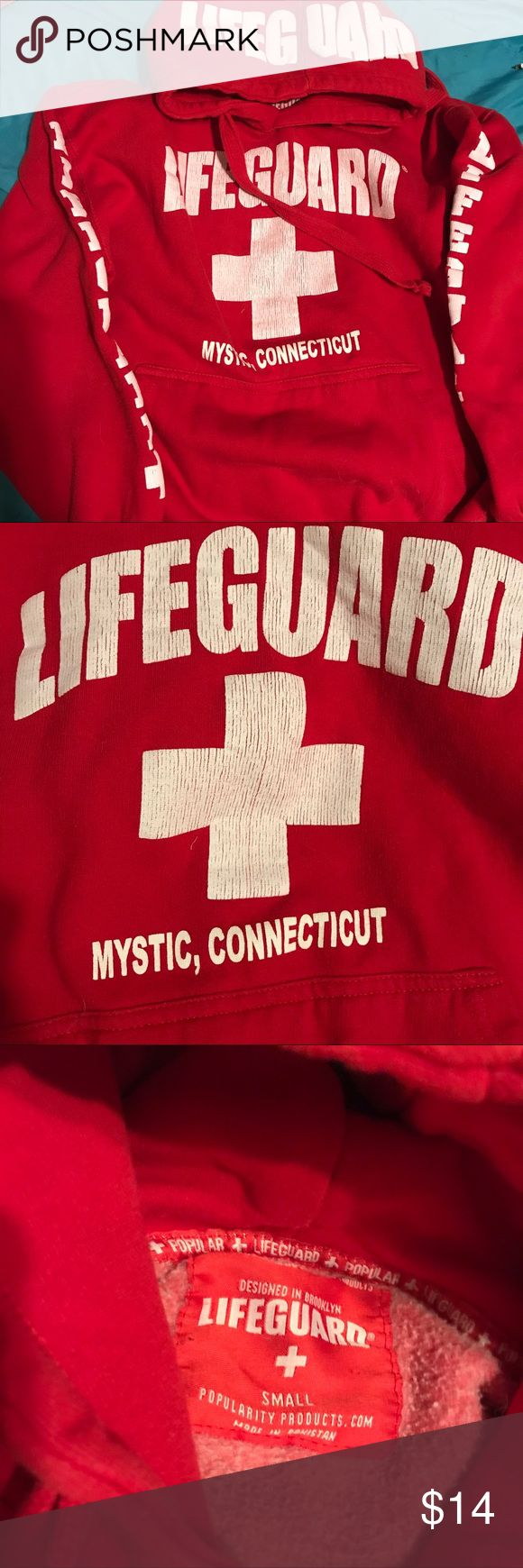 ⚪️Lifeguard hoodie from Mystic, Connecticut🔴 🔔FREE GIFT INCLUDED🔔 small lifeguard hoodie, hardly warn. life guard Tops Sweatshirts & Hoodies