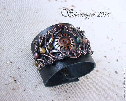 "Bracelet ""Sunshine"" - black, bracelet, genuine leather, fluorite, garnet  Браслет ""Солнечный круг"" - чёрный,браслет,кожа натуральная,флюориты,гранаты"
