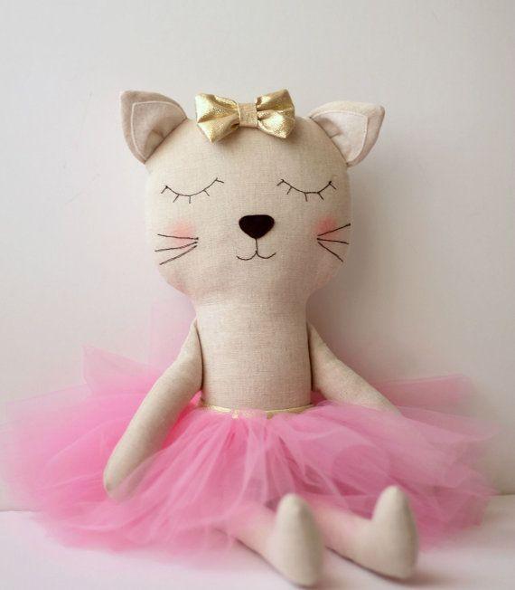 Cat ballerina in a pink tutu and a golden bow. Handmade stuffed animal cat. Rag doll. Gift ideas for girls.Nursery decor. Birthday gift idea
