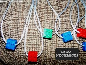 DIY Lego necklaces as party favors--Great idea from Mama to 5 Blessings.