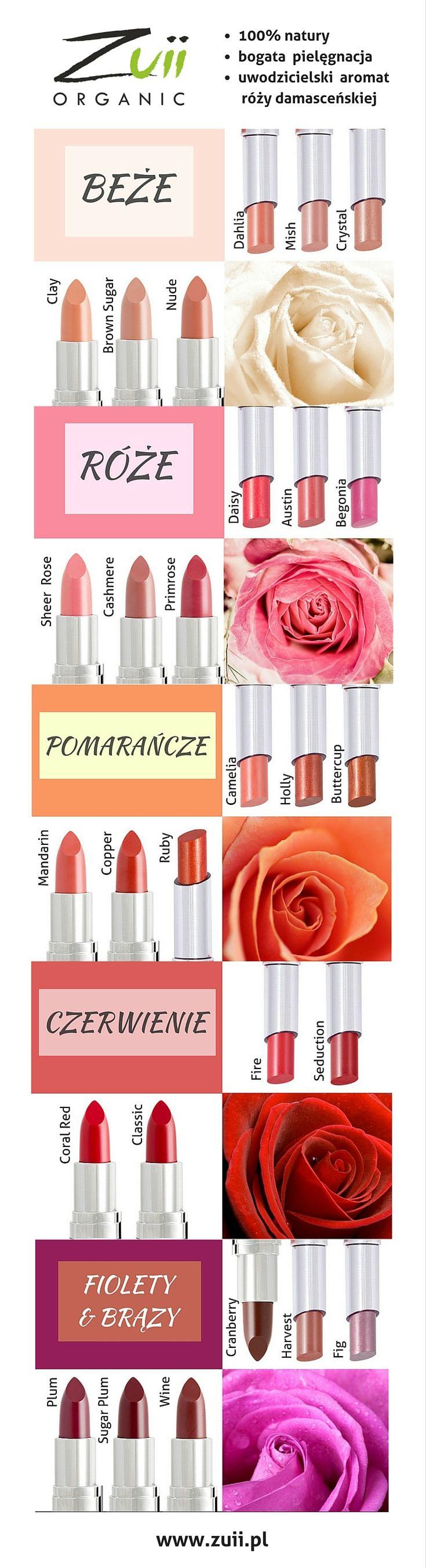 Dobierz kolor szminki Zuii i zakochaj się w pielęgnacyjnej mocy certyfikowanych,organicznych składników, intensywnych odcieniach i zapachu róży!