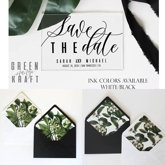 acrylic save the date clear transparent wedding announcement green