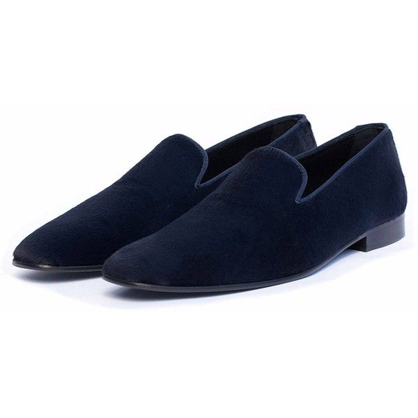 Donhall & Bell - Ascot Slipper - Navy Pony ($370) ❤ liked on Polyvore featuring men's fashion, men's shoes, men's slippers, mens navy shoes, mens leather slippers, navy blue mens shoes and mens leather shoes