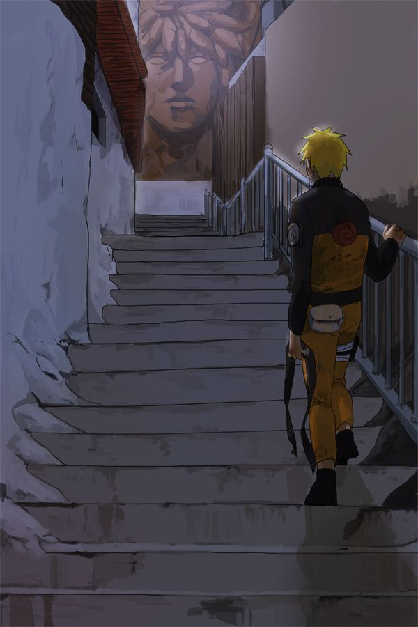 Alone.  This is such a beautiful piece of fan art. Naruto looking at his hero's face.