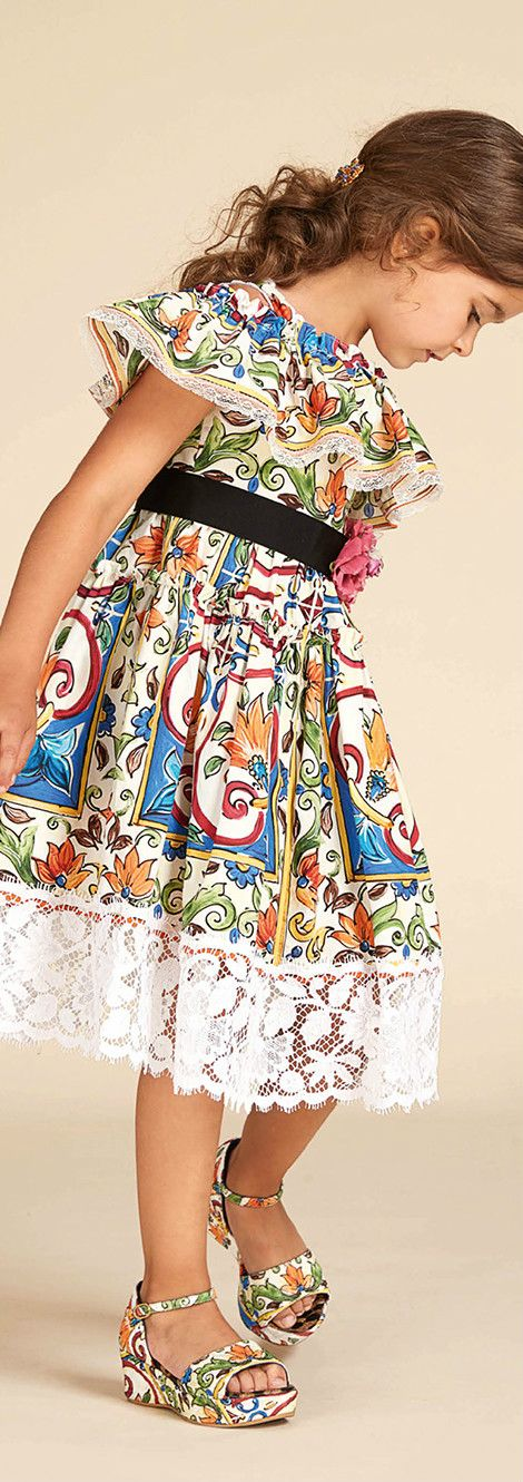 DOLCE & GABBANA Kids Girls Blue & Green 'Maiolica' Mini Me Dress with Lace from the Spring Summer 2018 Collection. Love this delightfully pretty mini me look Inspired by Sicilian majolica ceramics. Perfect Special Occasion Summer Party dress for a little princess at the beach or on vacation. Pretty Style for for stylish kid, tween and teen girls. #dolcegabbana #girlsclothing #kidsfashion #fashionkids #girlsdresses #childrensclothing #girlsclothes #girlsfashion