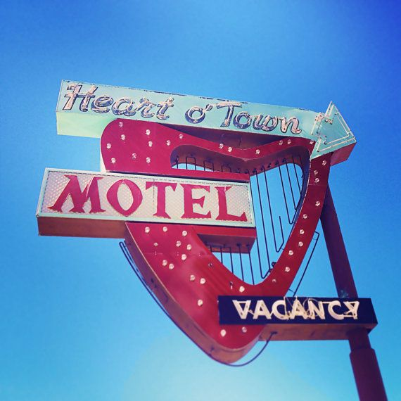 Heart o' Town Motel Neon Sign  Valentine's by RetroRoadsidePhoto