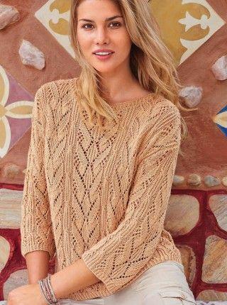 Пуловер сочетанием узоров