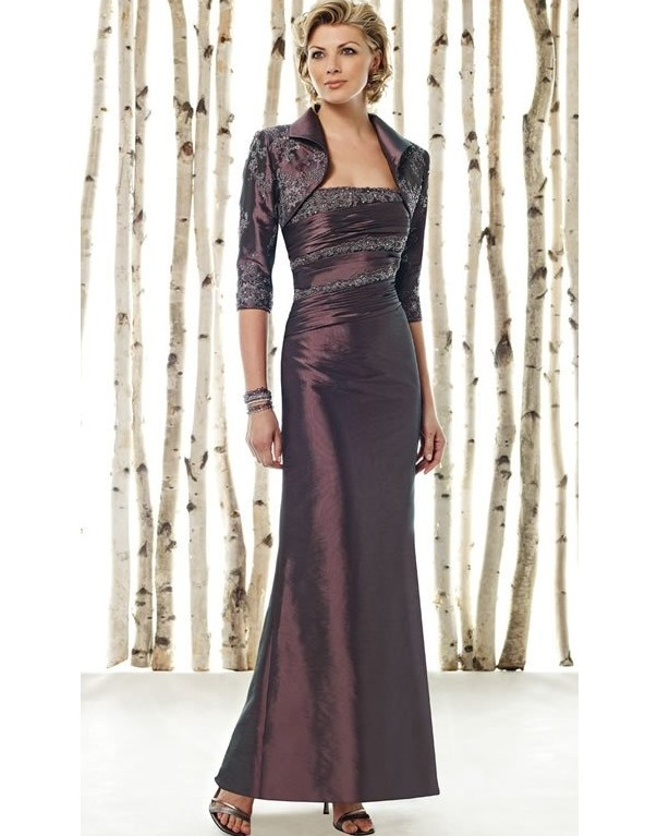 Purple Beaded Strapless Dress With Bolero $177.00 : LuxeBlue Quality Discount Wedding Dresses & Formal Gowns