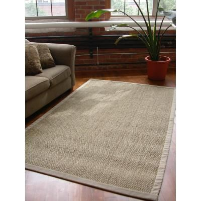 lanart rugs khaki cotton border natural seagrass rug u2013 5 feet x 8 feet - Seagrass Rug