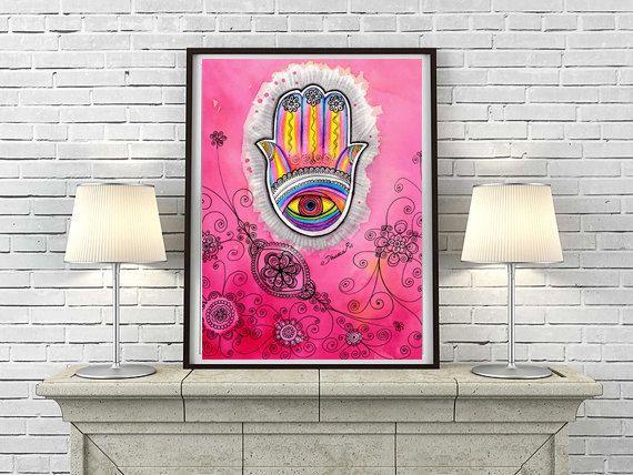 Mano arte paysley hennè di Fatima che disegno, porta benedizione Hamsa, rosa Hamsa Wall Decor, Bohemian Hippie Wall Decor, decorazione della parete camera da letto etnico