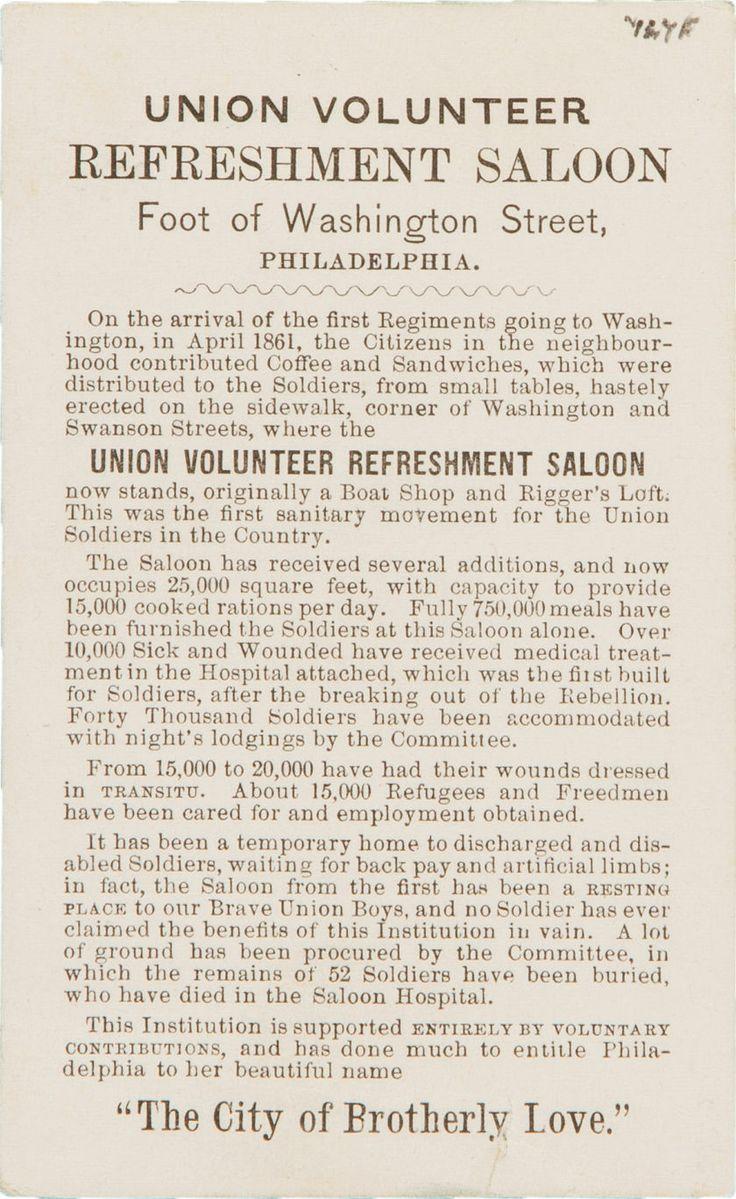 "Photography:CDVs, Horizontal Carte-De-Visite View of ""Union Volunteer RefreshmentSaloon"" Philadelphia.... Image #2 http://historical.ha.com/c/item.zx?saleNo=6083&lotNo=52593"