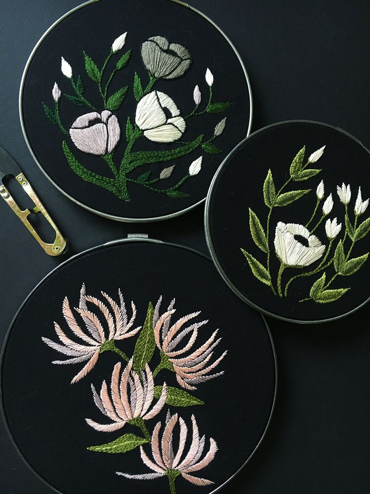 flowers on black embroidery