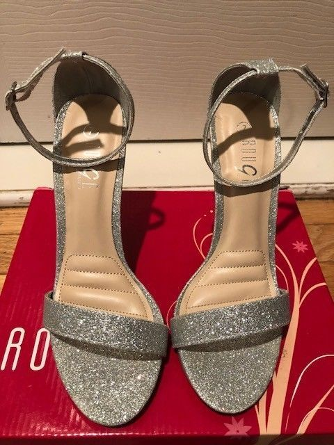 e742278d397 womens size 7 silver glitter open toe sandal medium heel height  fashion   clothing  shoes  accessories  womensshoes  heels (ebay link)