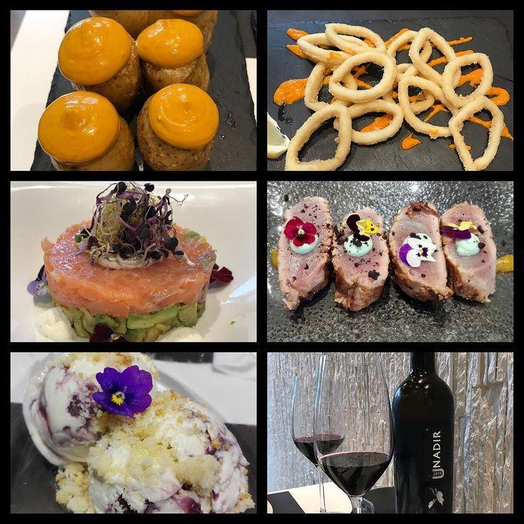#instagramele #inolvidable  Esta cena es inolvidable: patatas bravas calamares a la andaluza tartar de salmón con aguacate tataki de atún helado de yogur con moras y vino tinto Nadir (Extremadura) #restaurante #marypeppins