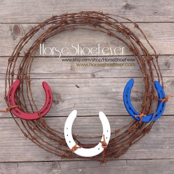 © Horseshoe Barbed Wire Wreath. Western Home Decor by HorseShoeFever.  USA! Holidays, Red, White, Blue, Military, Barbed Wire, Decorations, Vintage, Country, Reclaimed, CA, Country, Farm, Ranch, Horse, Horses, Patriotic, Rustic, America, Cowboy, Cowgirl, Barbwire, Labor Day, Memorial Day, 4th of July, Interior Design, Rooms Wall Art