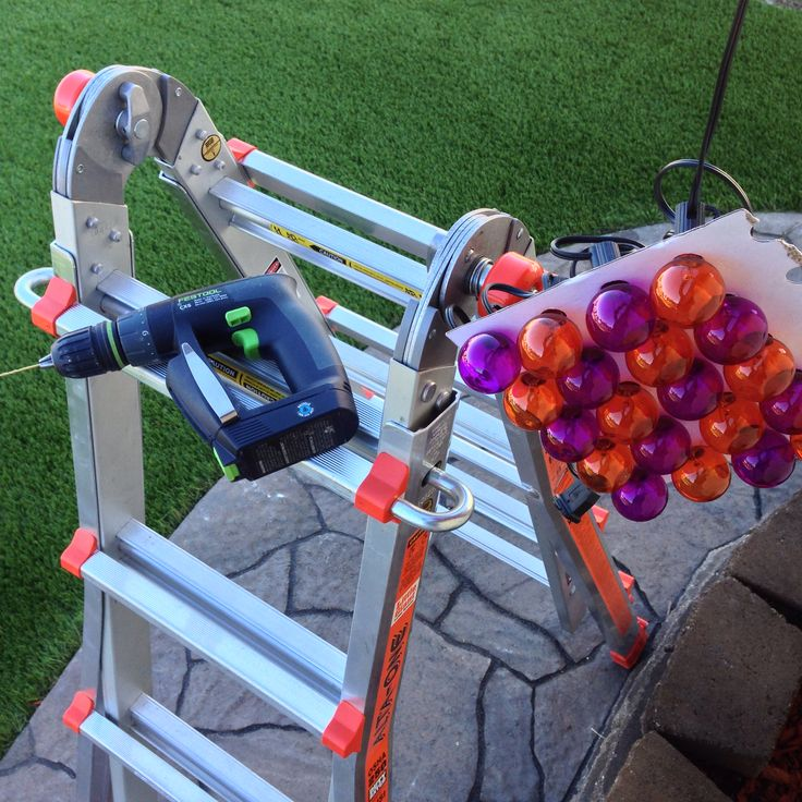 Little Giant ladder and compact Festool drill for hanging Halloween lights.