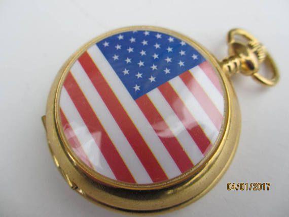 Vintage America Pocket Watch Vintage American Flag Pocket
