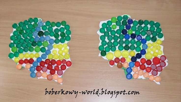 Boberkowy World : Mapa Polski z nakretek i godło z piór- prace plastyczne