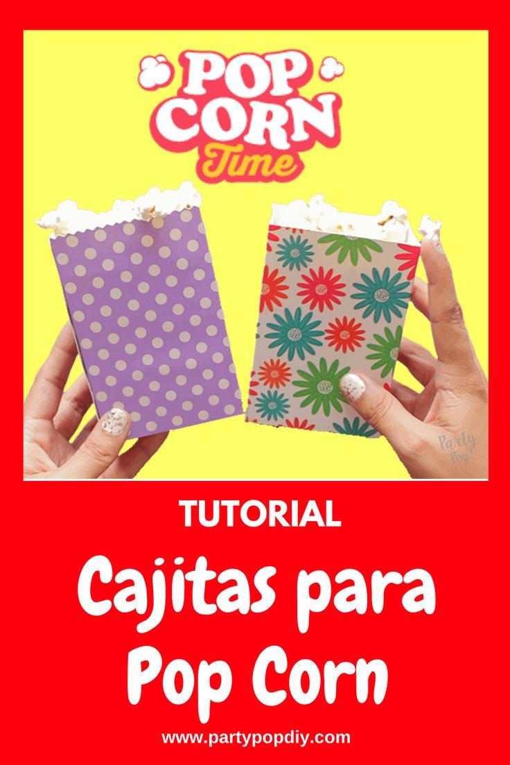 Cajitas para pop corn #cajitas Pop Corn, Baby Shower, Snack, Diy, Phone Cases, Cakes, Birthday Cards, Sachets, Parties Kids