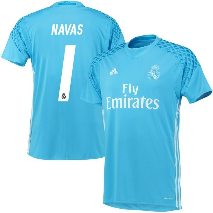 Navas Real Madrid adidas 2016/17 Home Goalkeeper Replica Jersey - Light Blue